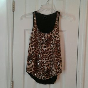 Express sequined leopard print tank top